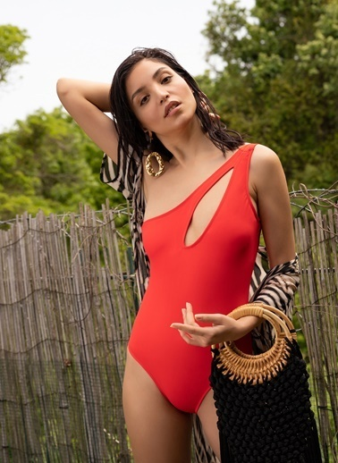 Morhipo Beach Tek Omuz Dekolteli Mayo Kırmızı